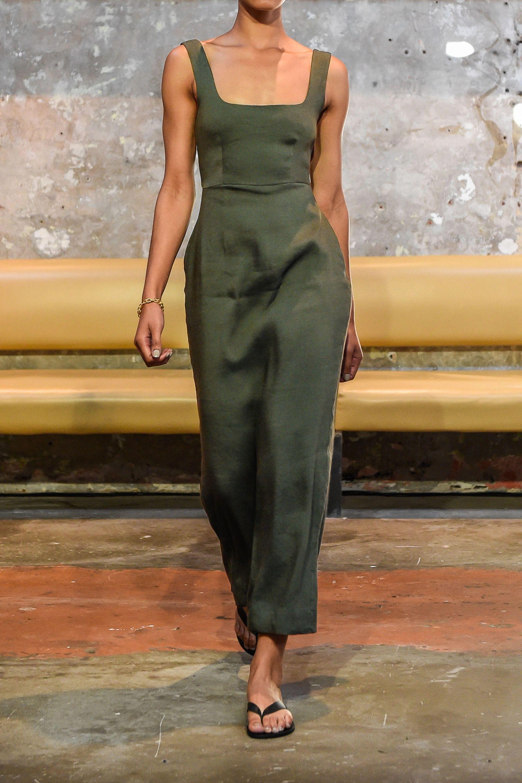 BONDI BORN Linen-blend maxi dress