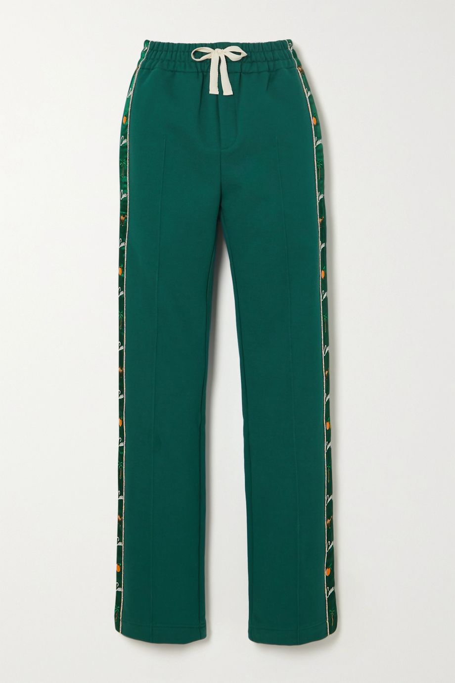 Casablanca Apres Mer embroidered satin-trimmed cotton-jersey track pants