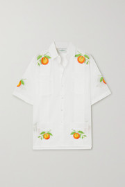 Casablanca Embroidered pintucked cotton-voile shirt
