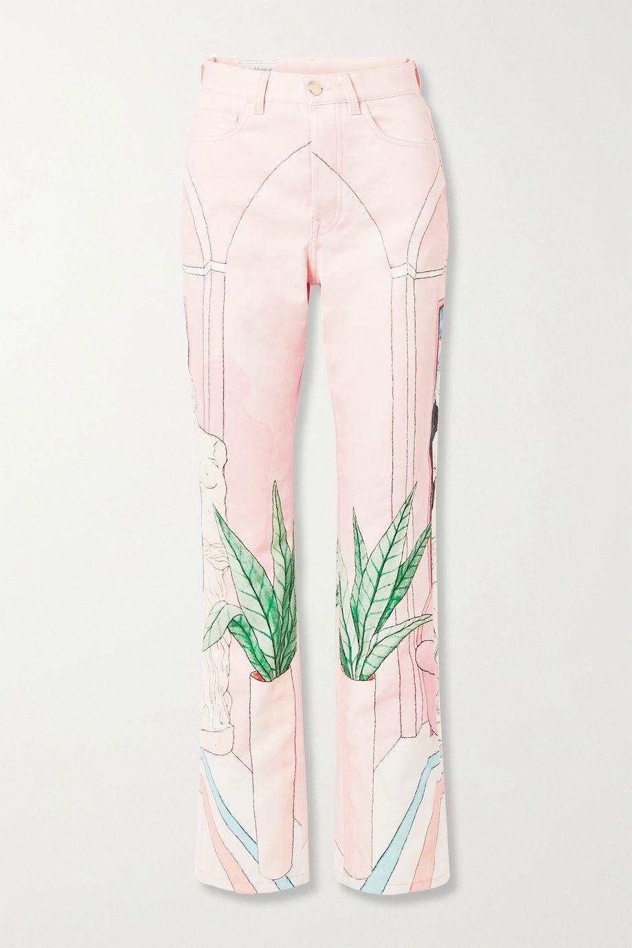Casablanca Chambre 602 printed high-rise straight-leg jeans