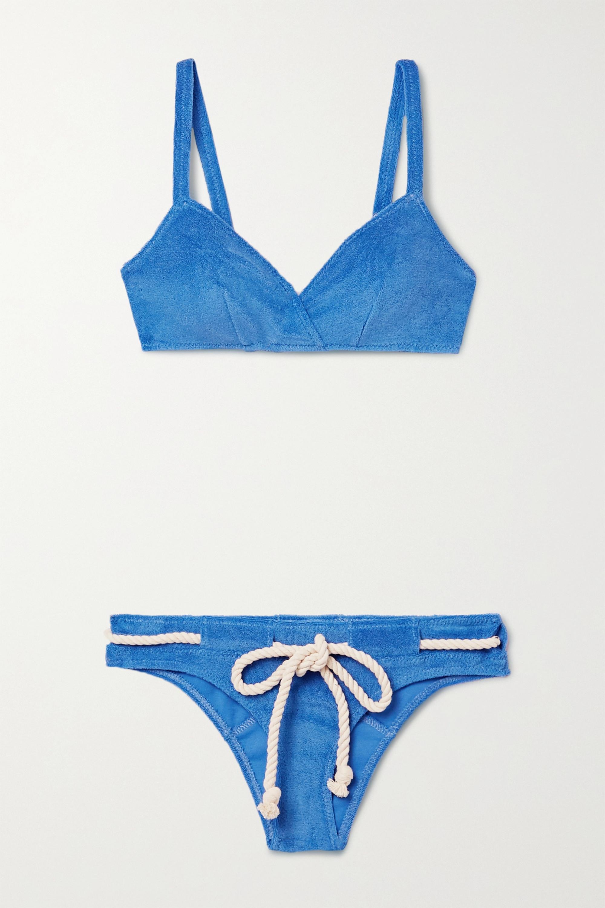Lisa Marie Fernandez + NET SUSTAIN Yasmin belted cotton-blend terry bikini