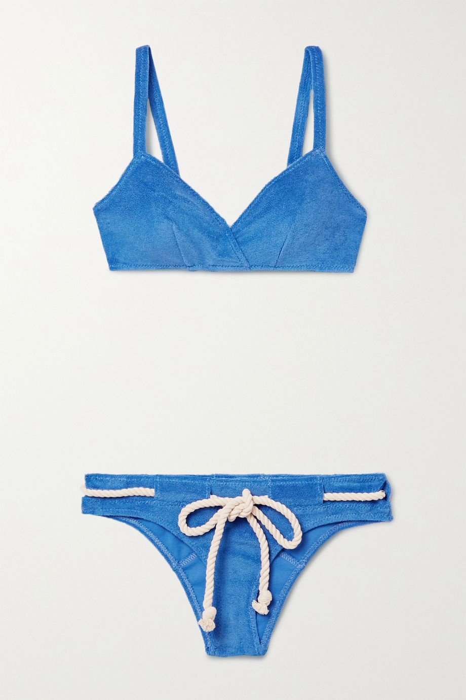 Lisa Marie Fernandez + NET SUSTAIN Yasmin belted cotton-blend terry bikini