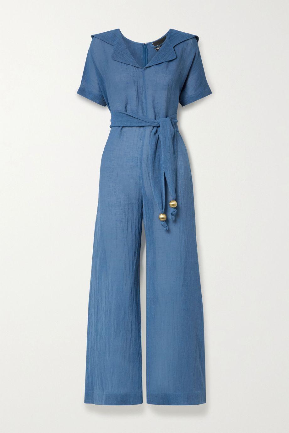 Lisa Marie Fernandez + NET SUSTAIN Mariana belted organic linen-blend gauze jumpsuit