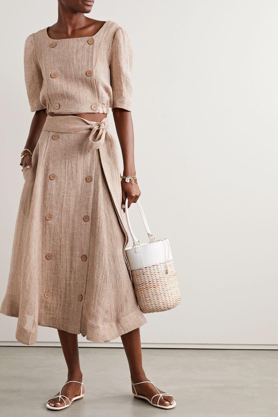 Lisa Marie Fernandez + NET SUSTAIN Diana cropped linen-blend gauze top