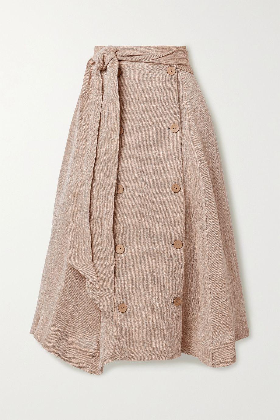 Lisa Marie Fernandez + NET SUSTAIN Diana linen-blend gauze midi skirt