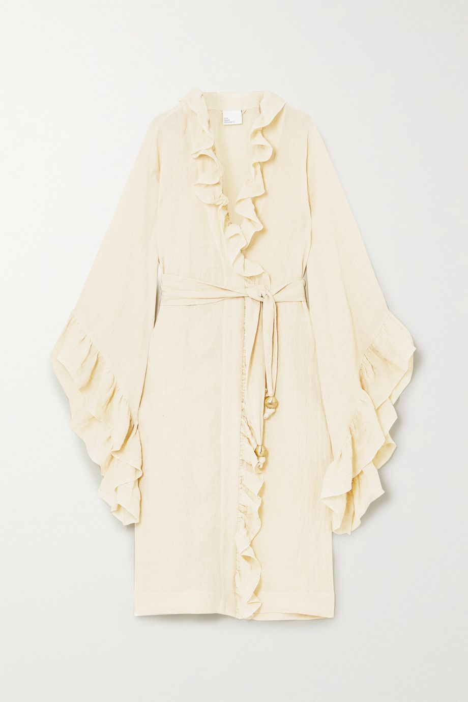 Lisa Marie Fernandez + NET SUSTAIN Anita belted ruffled metallic linen-blend gauze robe