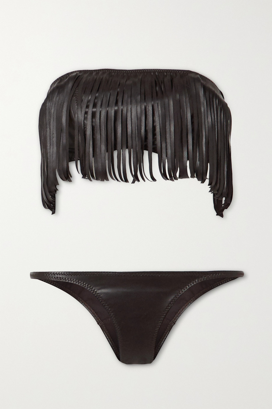 Lisa Marie Fernandez + NET SUSTAIN fringed vegan leather bandeau bikini