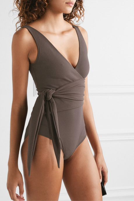 Dree Louise stretch-crepe wrap swimsuit