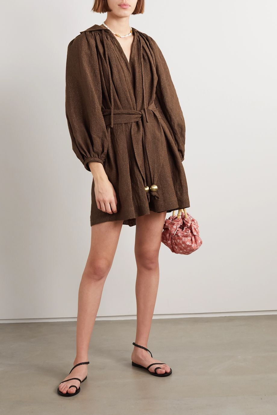 Lisa Marie Fernandez + NET SUSTAIN Poet metallic linen-blend gauze mini dress
