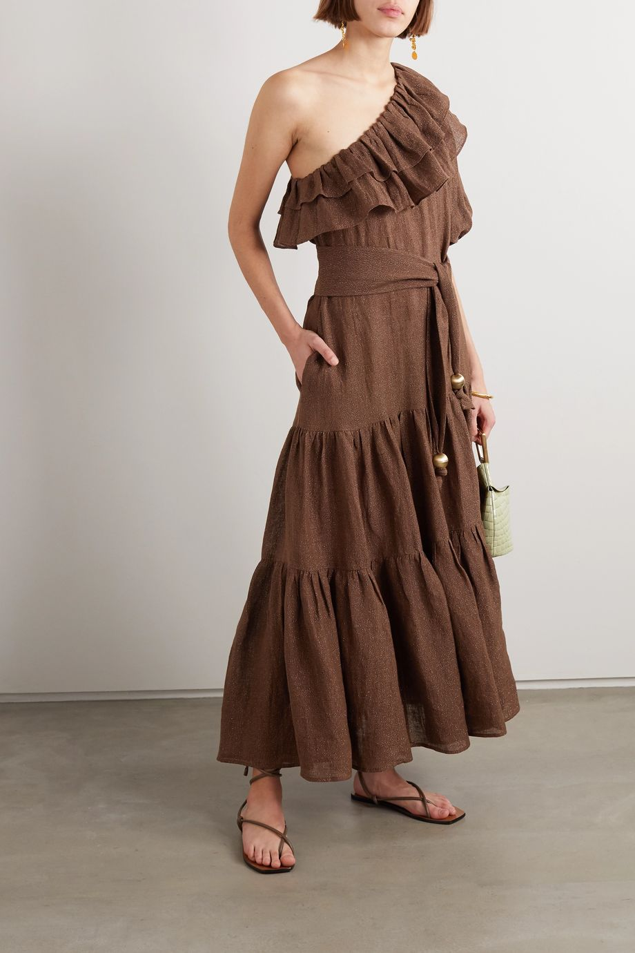 Lisa Marie Fernandez + NET SUSTAIN Arden one-shoulder ruffled metallic linen-blend gauze maxi dress