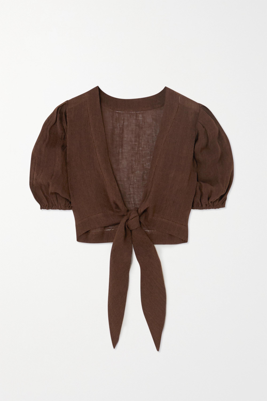 Lisa Marie Fernandez + NET SUSTAIN Pouf tie-front organic linen-blend gauze top