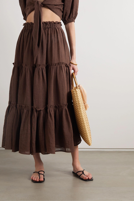Lisa Marie Fernandez + NET SUSTAIN tiered organic linen-blend gauze midi skirt