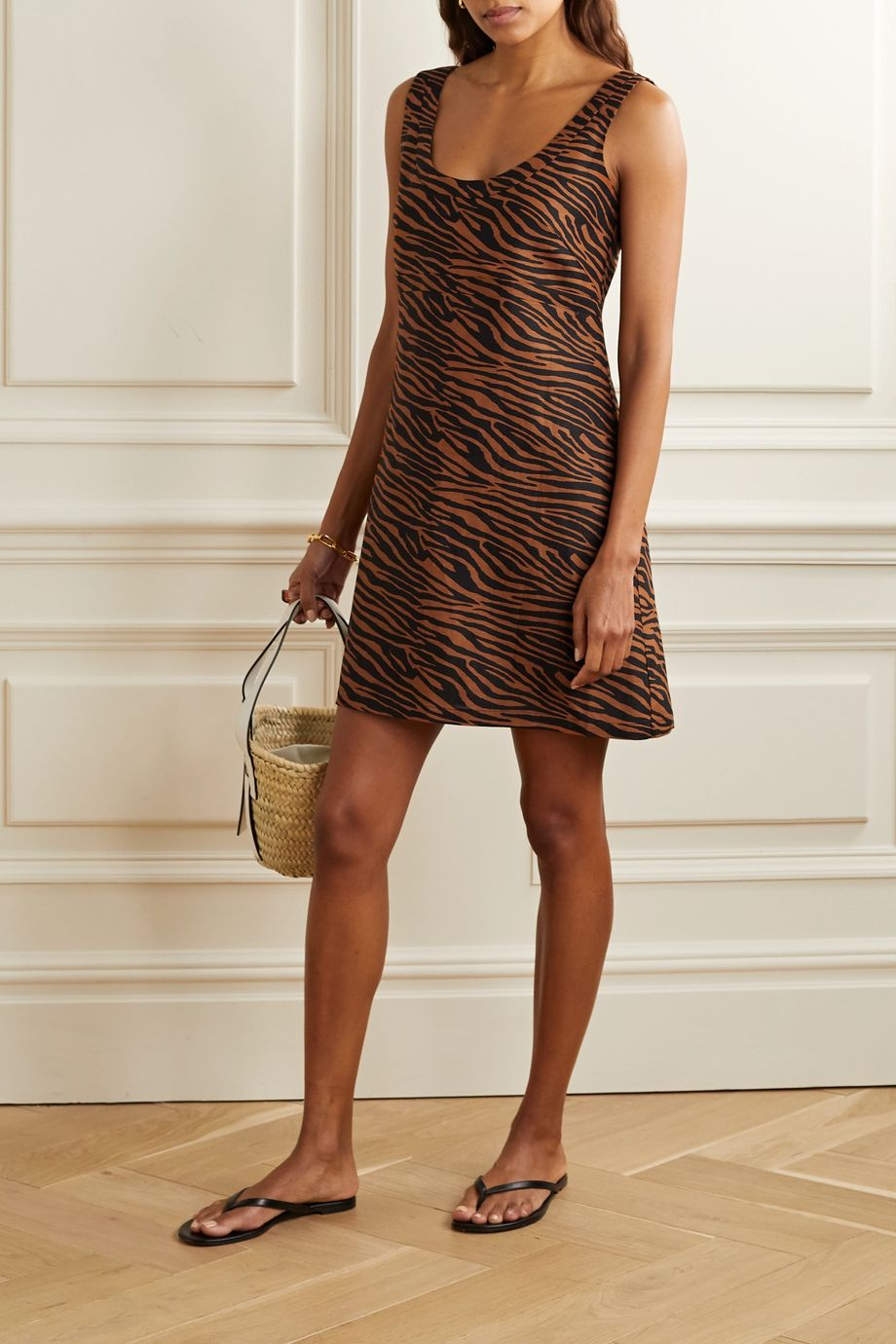 Lisa Marie Fernandez + NET SUSTAIN Zani zebra-print linen mini dress