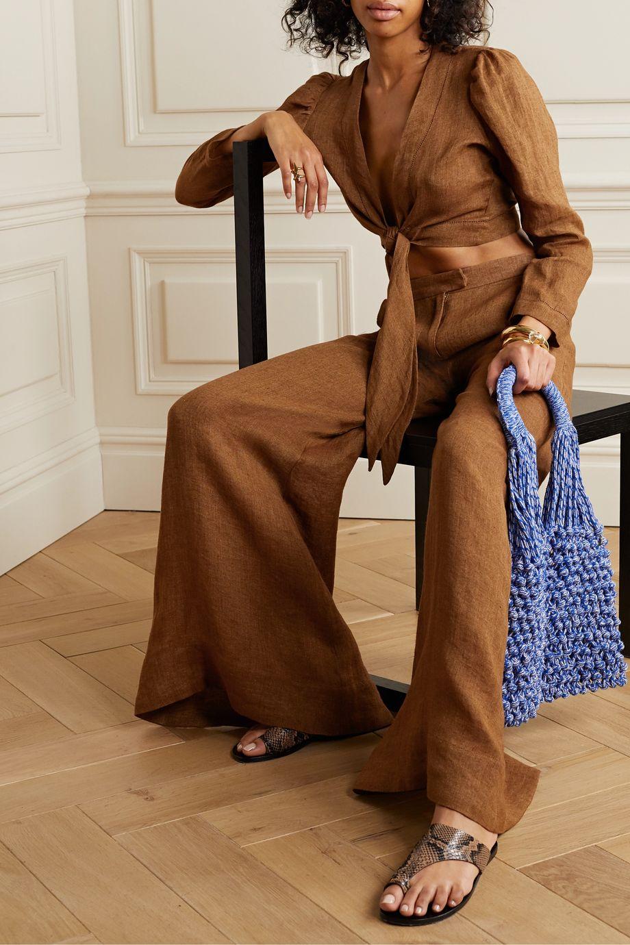 Lisa Marie Fernandez Pouf cropped tie-front linen-gauze top