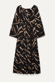 + NET SUSTAIN belted zebra-print devoré-crepe maxi dress