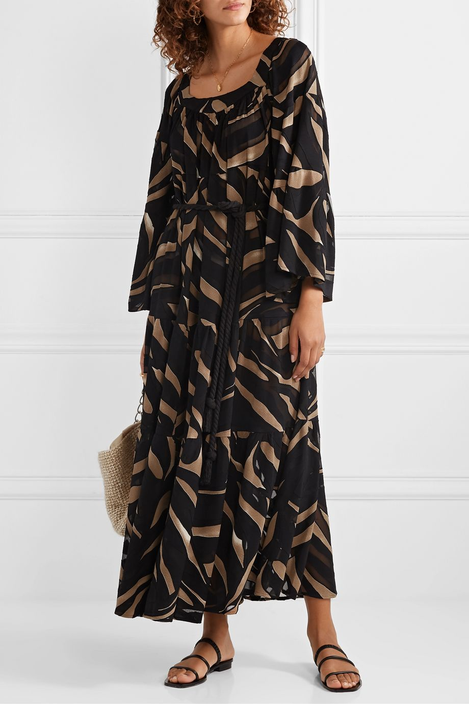Lisa Marie Fernandez + NET SUSTAIN belted zebra-print devoré-crepe maxi dress