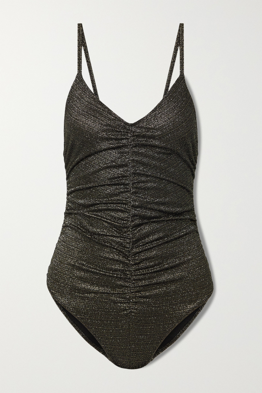 Lisa Marie Fernandez + NET SUSTAIN ruched metallic swimsuit