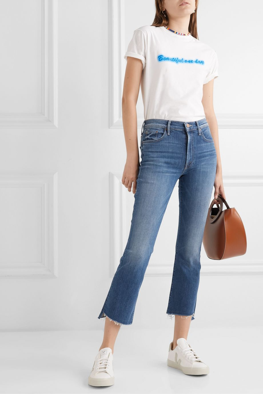 Mother The Insider frayed cropped high-rise flared jeans