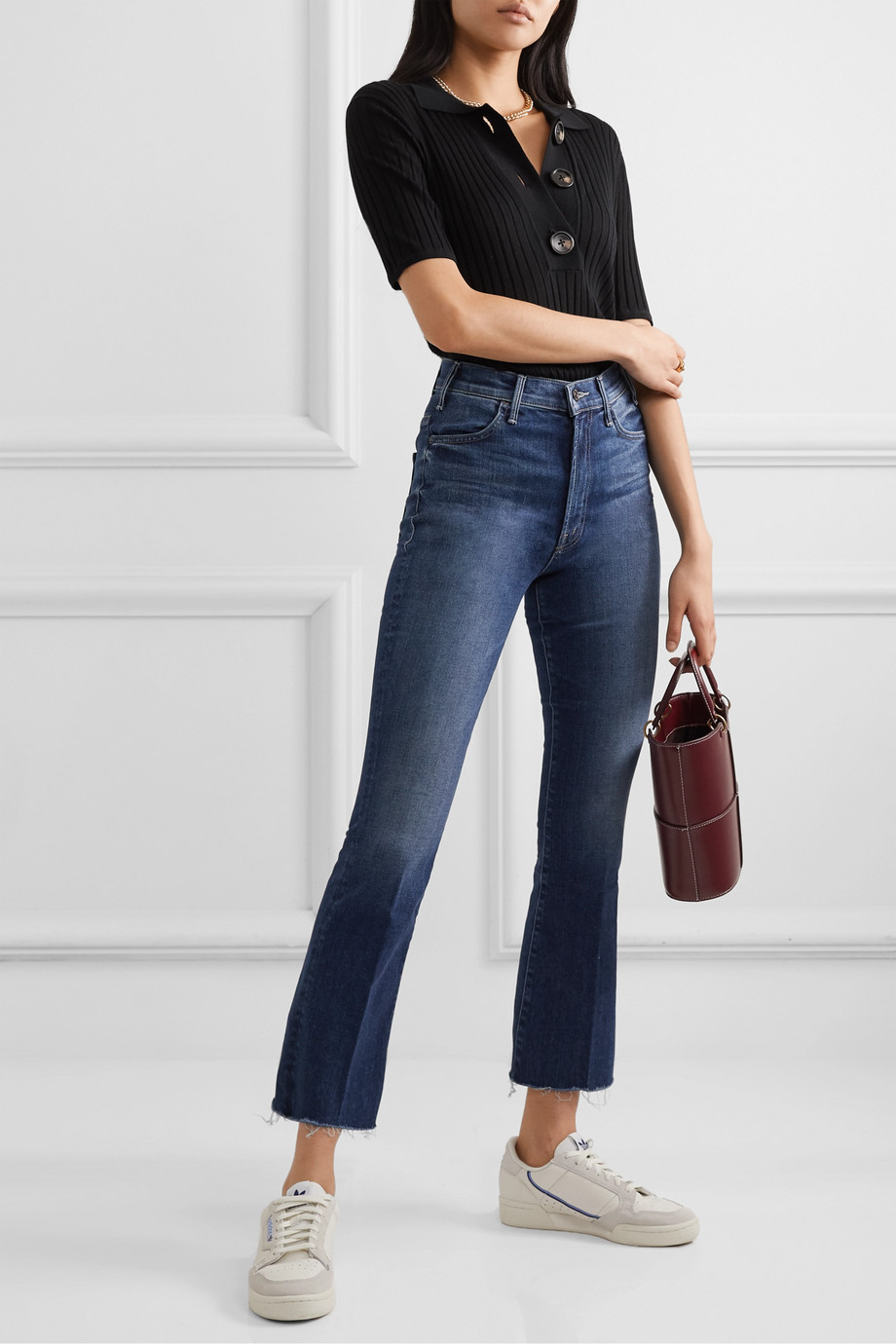 Mother The Hustler cropped frayed high-rise flared jeans