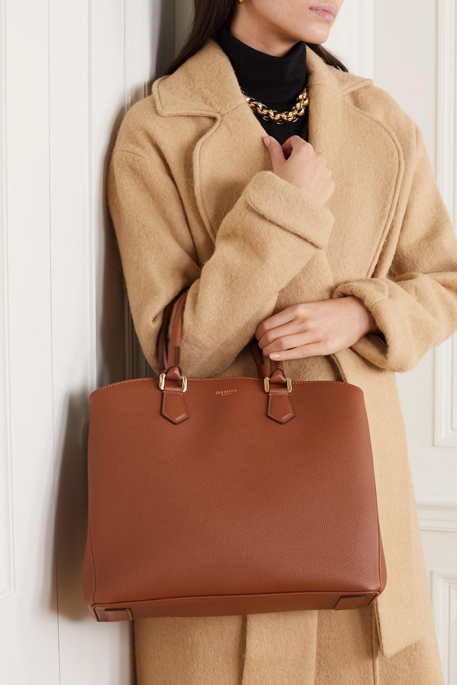 Serapian Luna textured-leather tote