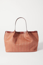 Serapian Secret medium leather-trimmed woven raffia tote