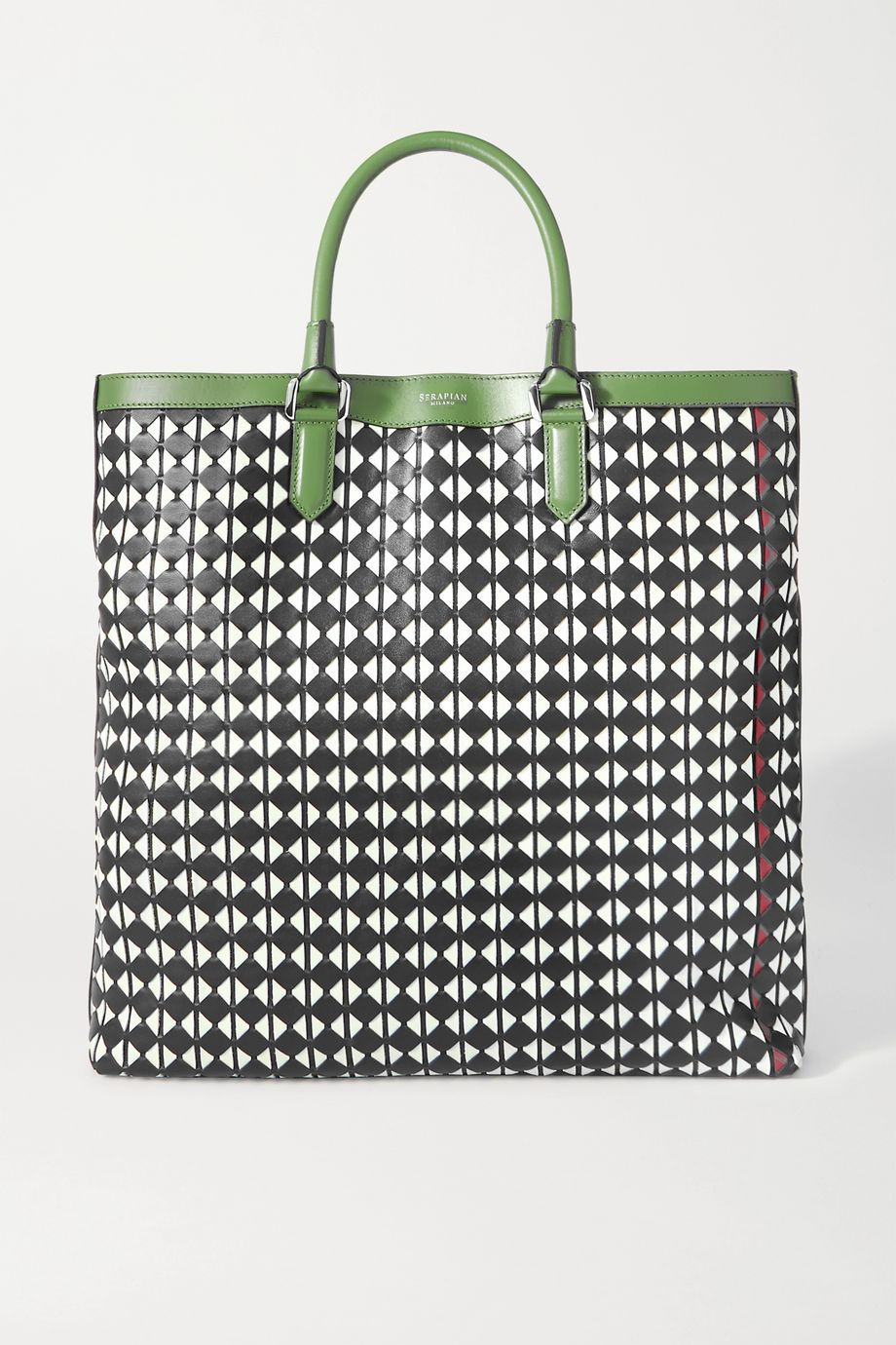 Serapian Vertical medium woven leather tote