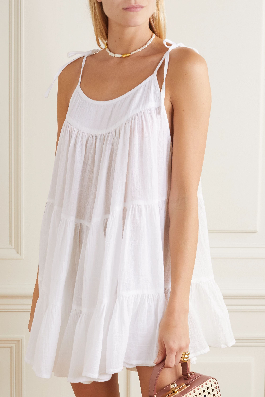 Honorine Peri tiered crinkled cotton-gauze mini dress