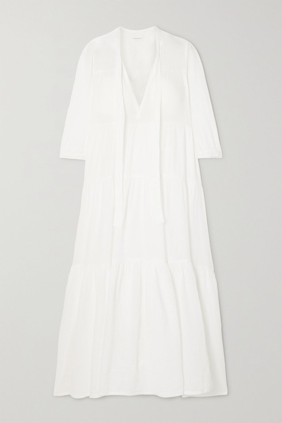 Honorine Giselle pussy-bow tiered crinkled cotton-gauze midi dress