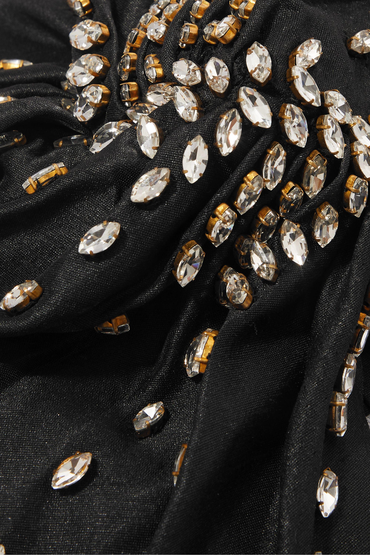 MaryJane Claverol Shaila crystal-embellished pleated silk turban