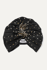 Shaila crystal-embellished pleated silk turban