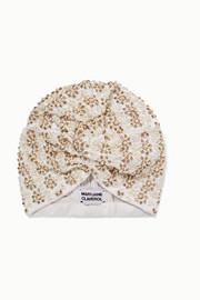 Philo embellished stretch-crepe turban