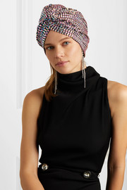 Honore crystal-embellished stretch-cotton turban