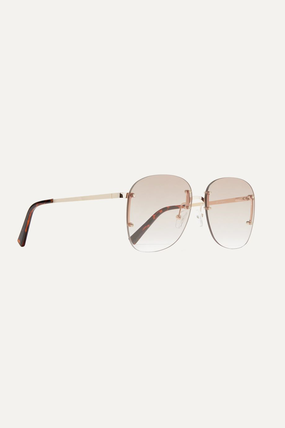 Le Specs Skyline square-frame gold-tone sunglasses