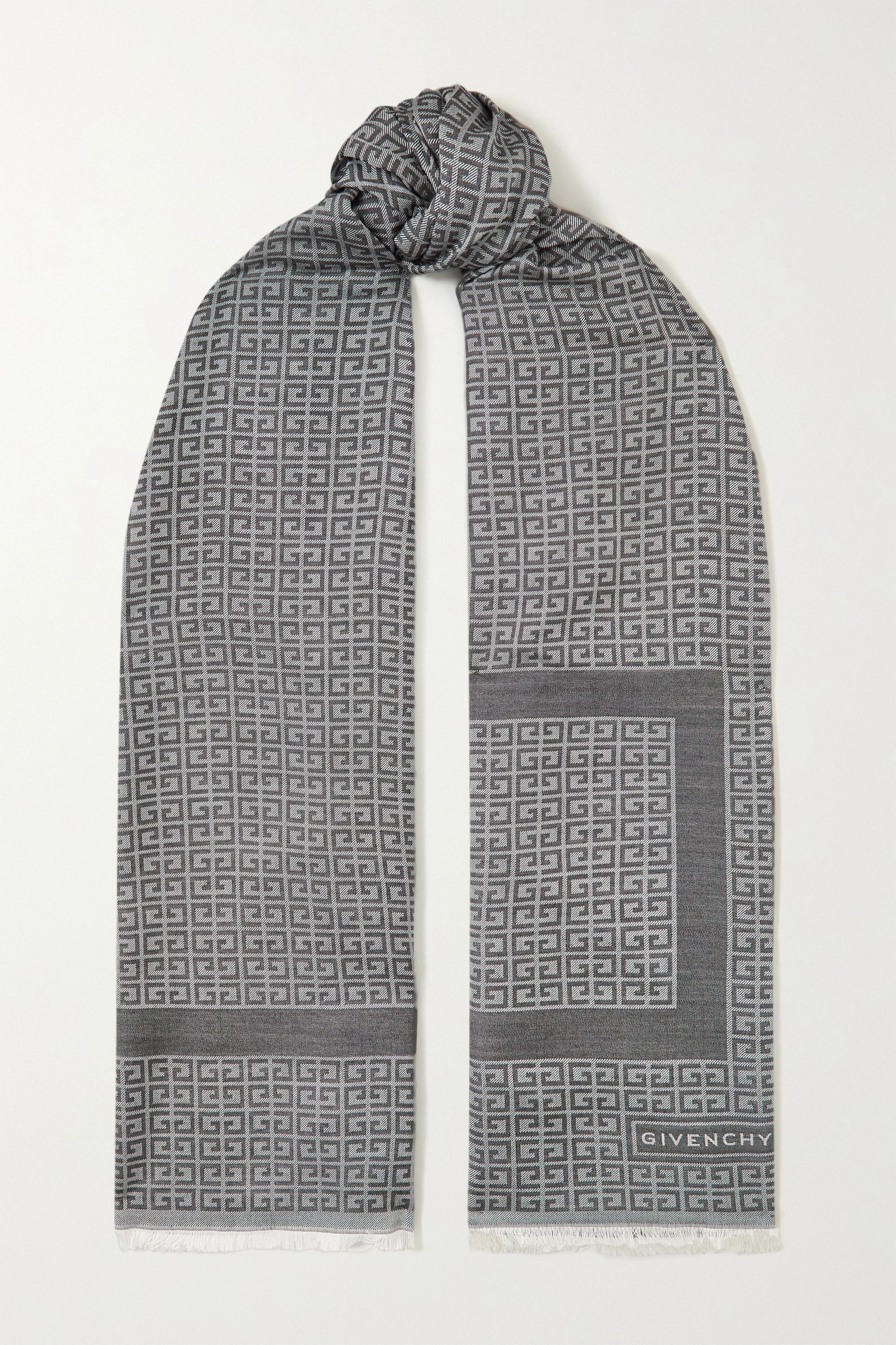 Givenchy Fringed silk and wool-blend jacquard scarf