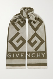 Givenchy Fringed intarsia wool and cashmere-blend scarf