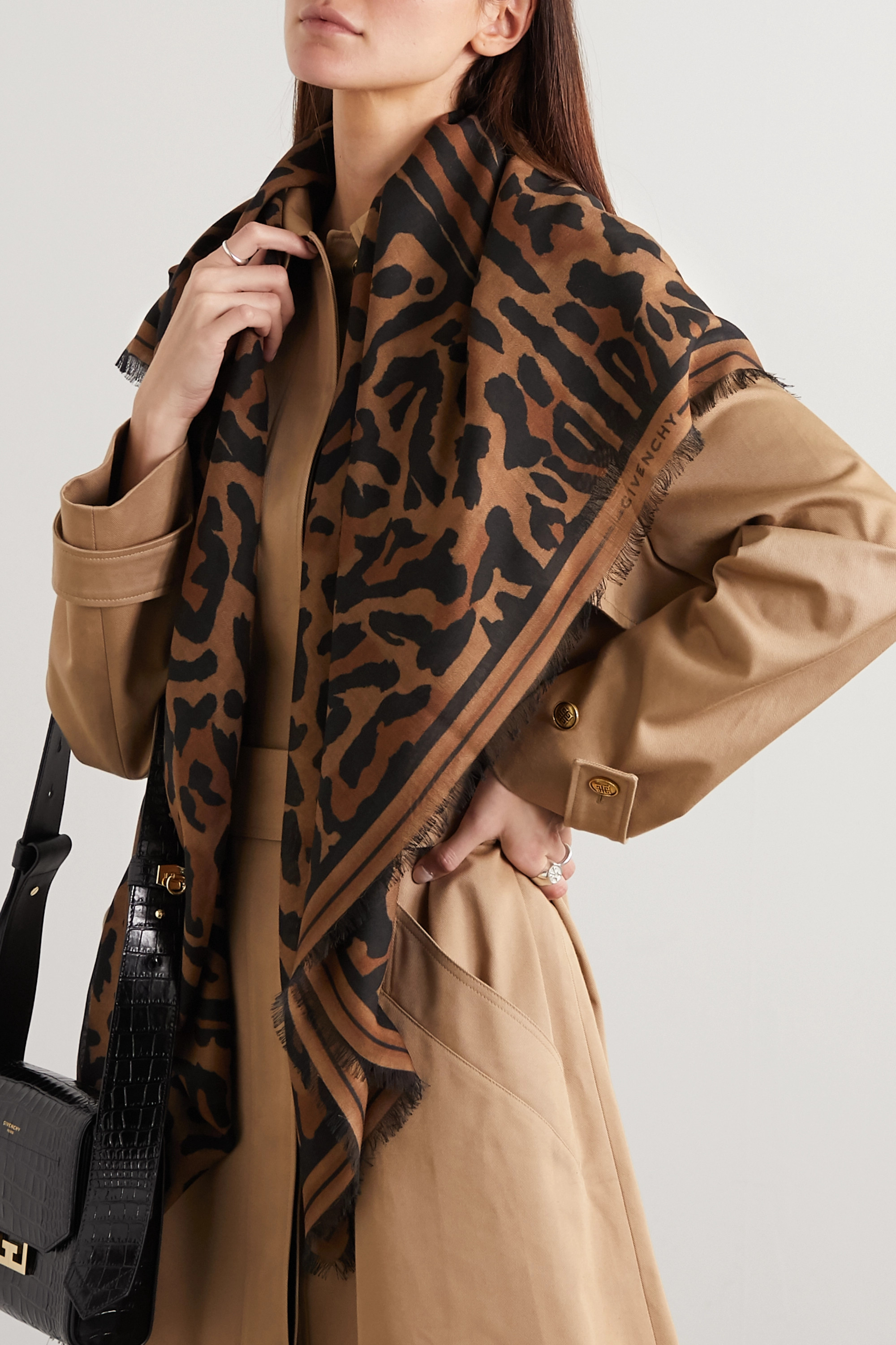 Givenchy Fringed leopard-print cashmere and silk-blend scarf