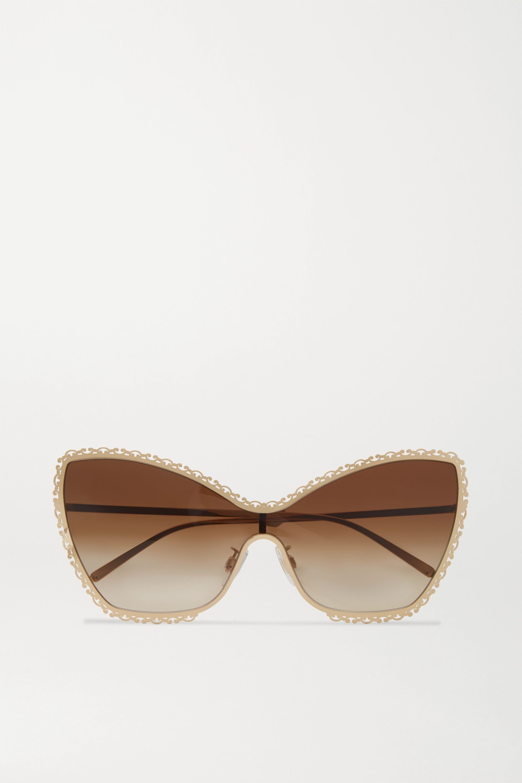Dolce & Gabbana Devotion goldfarbene Sonnenbrille mit Cat-Eye-Rahmen