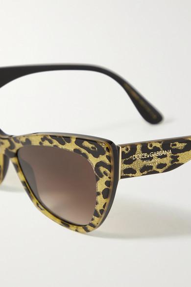 DOLCE & GABBANA Cat-eye glittered leopard-print acetate sunglasses