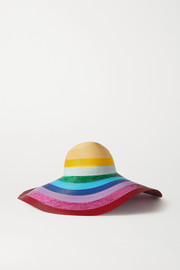 Mary Katrantzou MARY-MARE Riviera metallic striped woven hat