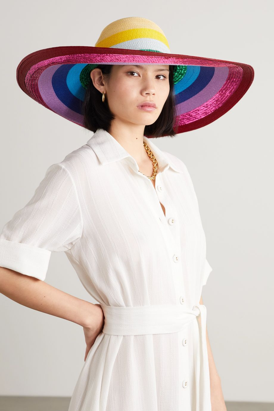 Mary Katrantzou MARY-MARE Riviera geflochtener Hut mit Streifen in Metallic-Optik