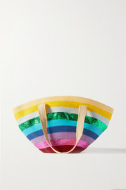 Mary Katrantzou MARY-MARE Over The Rainbow metallic striped woven tote