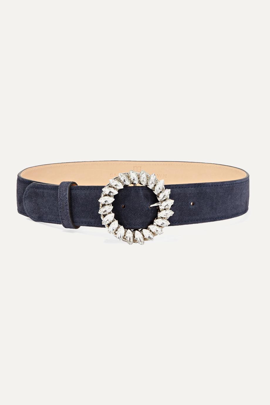Black & Brown Crystal-embellished suede waist belt