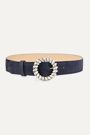 Black & Brown Crystal-embellished suede waist belt