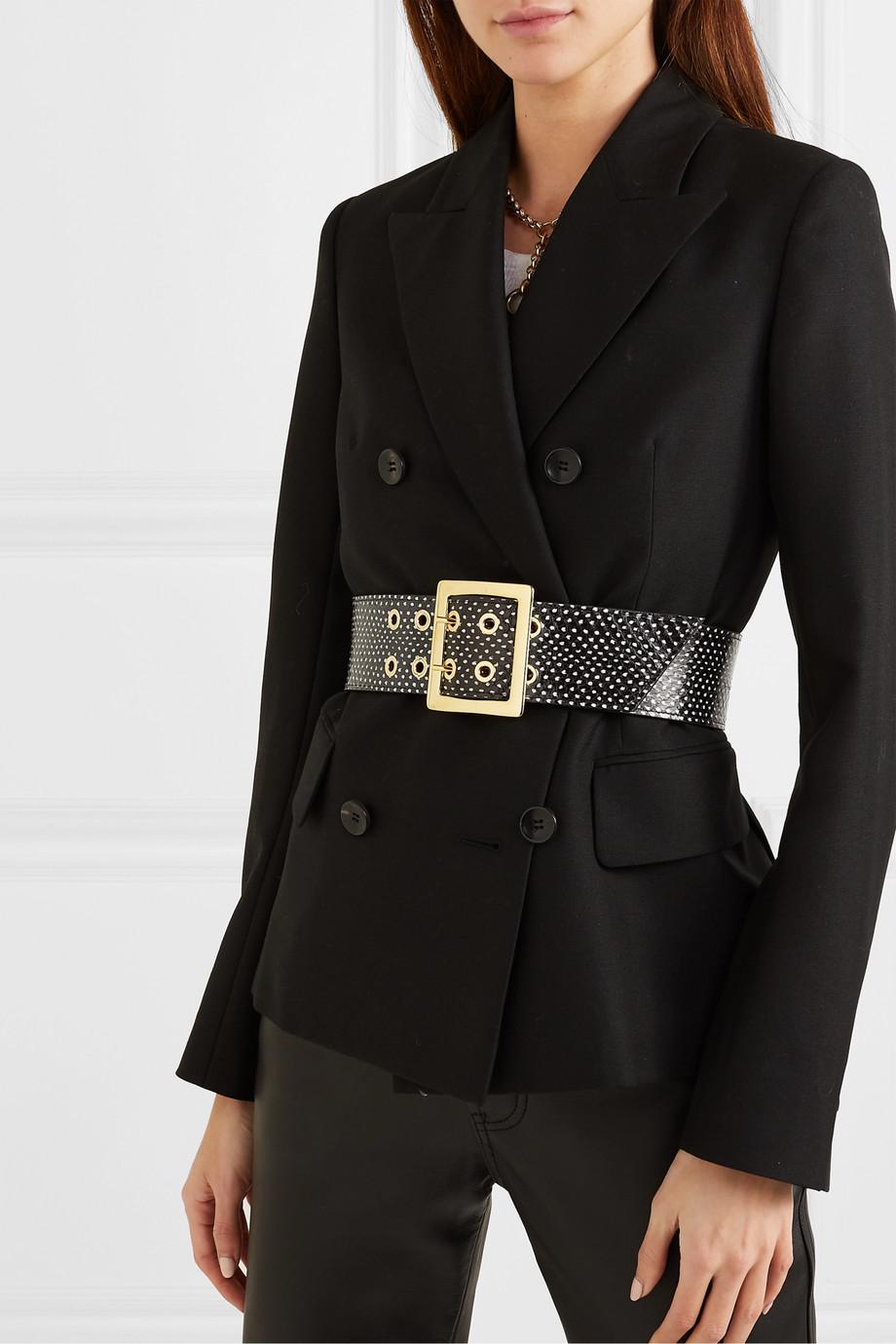 Black & Brown Printed elaphe waist belt