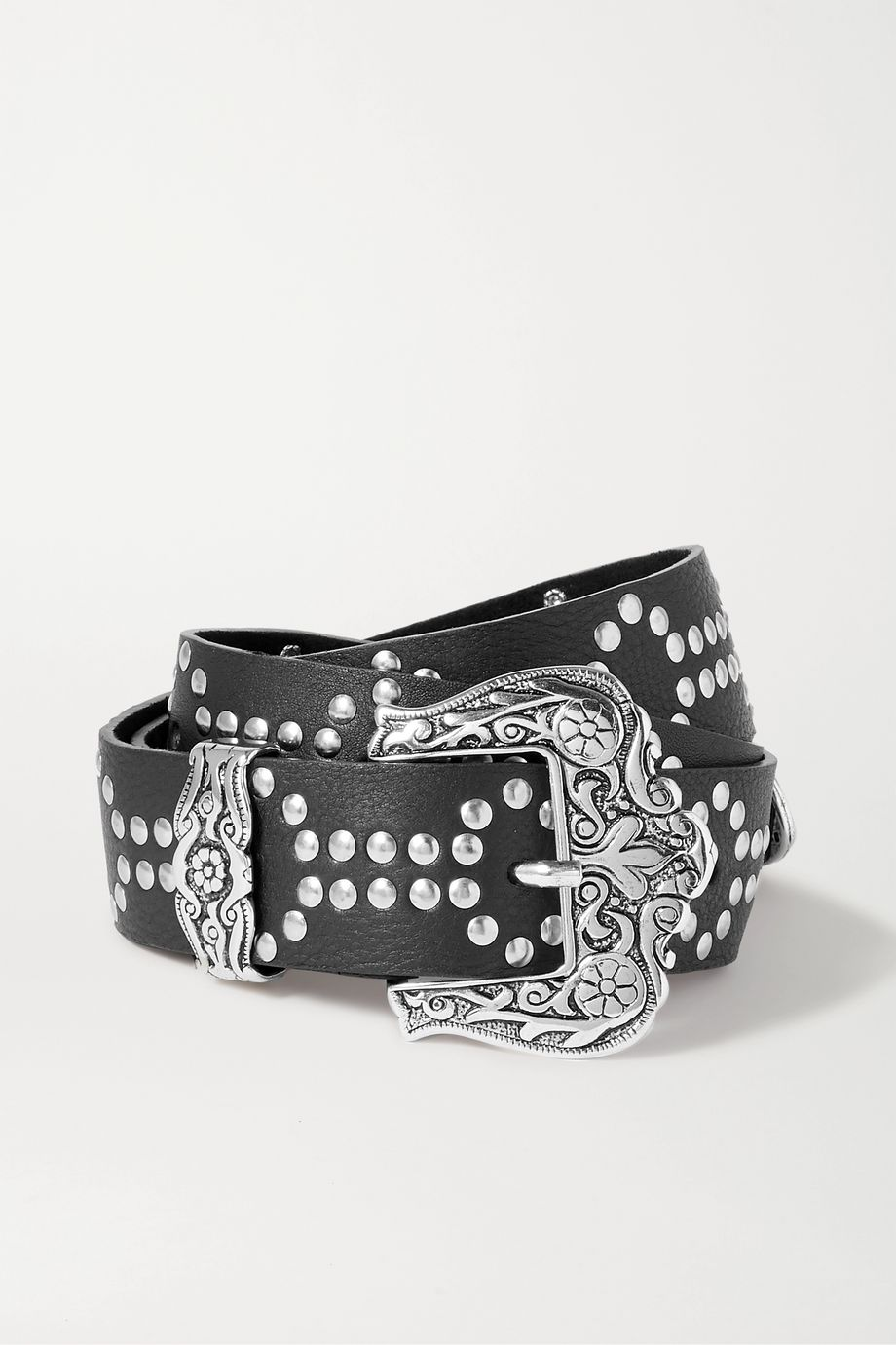 Black & Brown Lara studded textured-leather belt