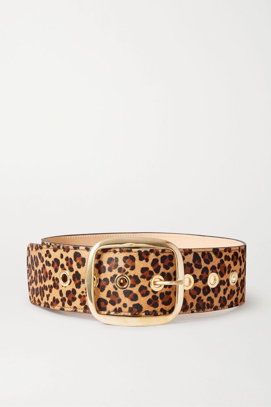 Black & Brown Leopard-print calf hair waist belt