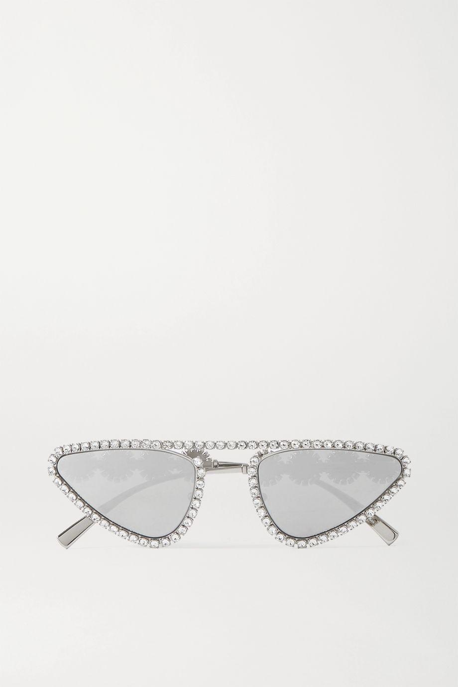 Versace Cat-eye Swarovski crystal-embellished silver-tone mirrored sunglasses