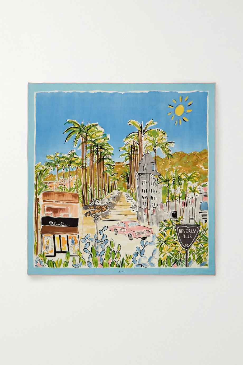 Loro Piana Carre Sunny Afternoon in Beverly Hills printed cashmere and silk-blend scarf