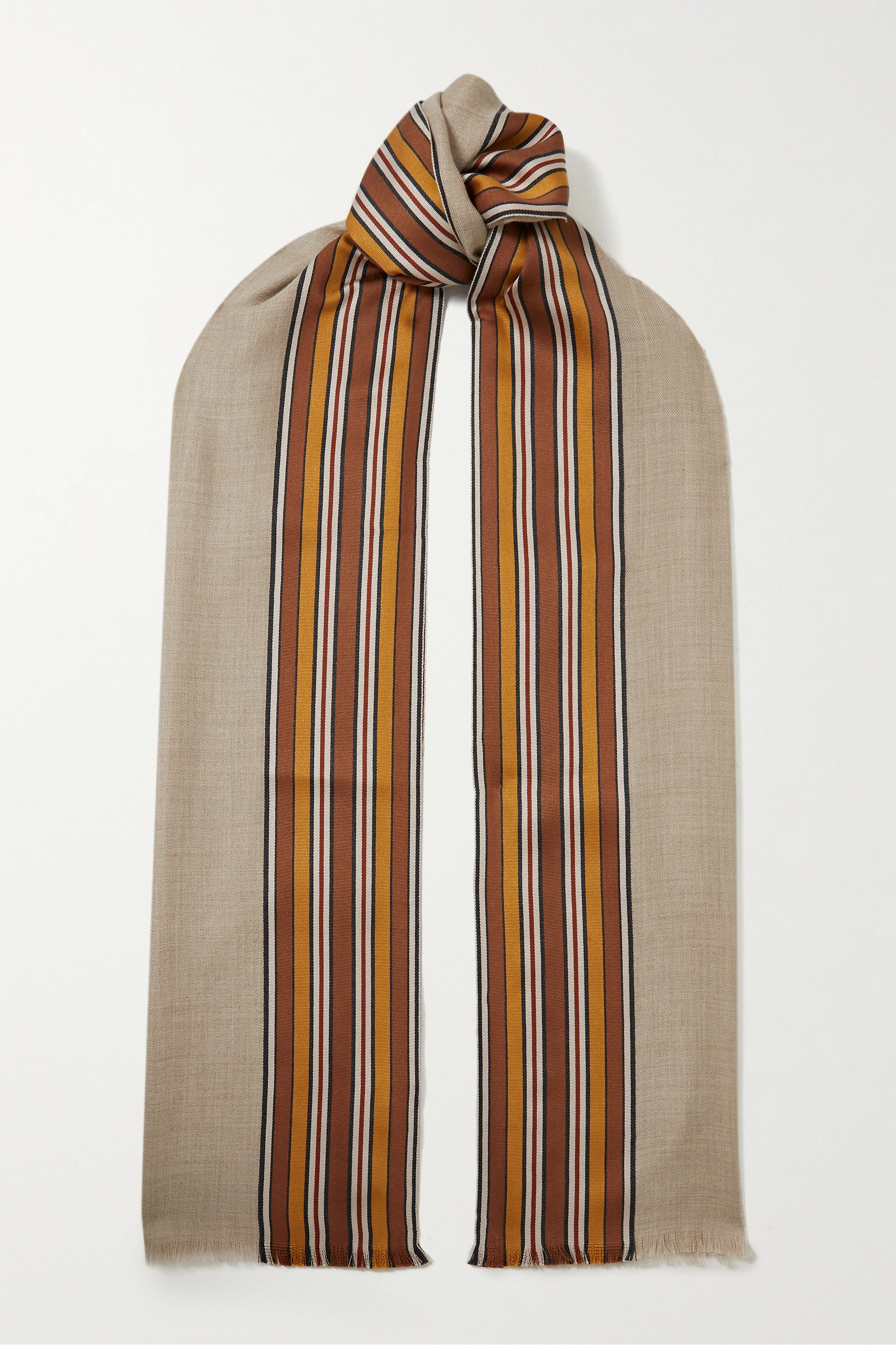 Loro Piana The Suitcase Stripe fringed silk and cashmere-blend scarf