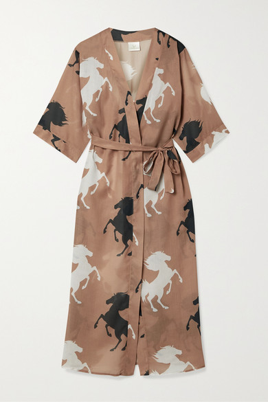 Verdelimon Printed Voile Robe In Brown